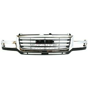 New Front Grille Chrome black For 2003 2006 Gmc Sierra 2500 Hd Gm1200568