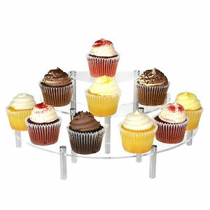 3 tier Clear Acrylic Semicircle Round Cupcake Dessert Display Stand Set Of 2