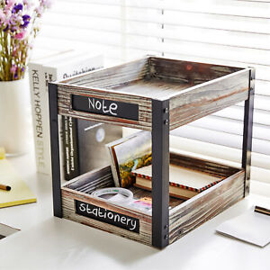 2 Tier Torched Wood Desktop Document Tray File Holder With Chalkboard Labels