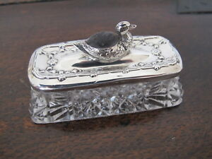 Rare Antique Hm Sterling Silver Glass Trinket Box With Duck Pin Cushion 1910
