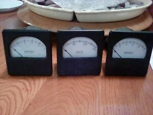 3 Vintage Westinghouse Panel Meters Type Rx 35