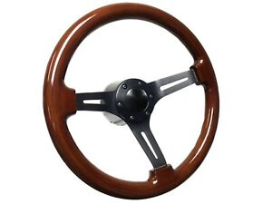1974 5 1979 Vw S6 Mahogany Finished Steering Wheel Black Kit 11 16 Spline
