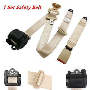 Automatic Beige 3 Point Retractable Safety Straps Car Front Seat Belt Buckle Kit
