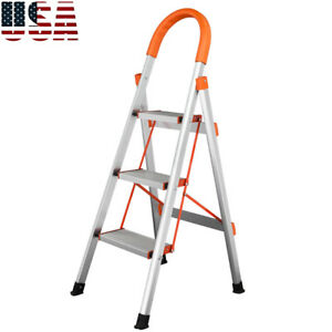 330 Lbs Non slip 3 Step Aluminum Ladder Folding Platform Stool Load Capacity