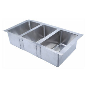 Heavy Duty 304 Stainless Steel Kitchen Sink 18 Gauge Triple Bowls 3 Compartment