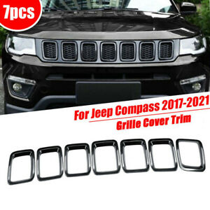 Fits 2017 2021 Jeep Compass Black Abs Front Grille Grill Insert Cover Trim Frame