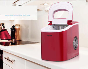 220v Red Portable Compact Electric Ice Maker Machine Mini Cube 26lb day New