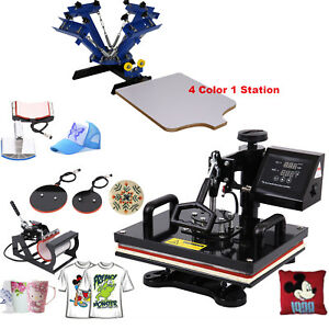 5in1 Heat Press Machine Digital Transfer Sublimation 4color1 Station Silk Screen