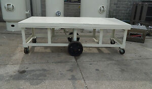 White Painted Industrial Steel Work Utility Table Cart 9 X 4