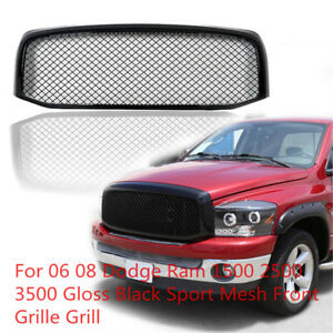For 06 08 Dodge Ram 1500 Gloss Black Sport Mesh Front Grille Grill