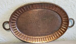 Antique Hand Hammered Large Oval Copper India Tray With Handles