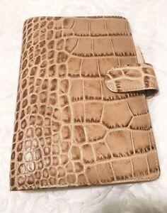 Filofax Personal Classic Croc Organiser Planner Notebook Diary Fawn Leather Euc