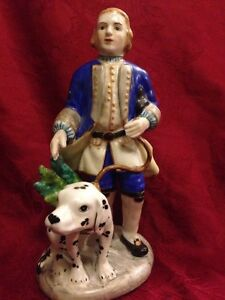 Antique French Porcelain Figurine Man With Dalmatian Dog