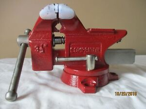 vintage Companion 3 1 2 Bench Vise Anvil Swivel Used In Good Condition