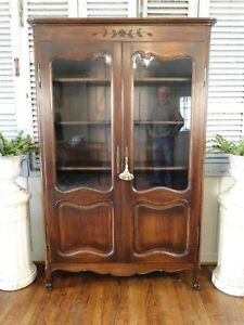 Antique French Country Bookcase Curio Carved Oak Display Cabinet Adj Shelves