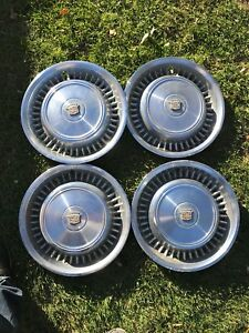 1974 1975 1976 Cadillac Fleetwood Coupe Deville Hub Caps Set Of 4