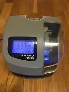 Amano Pix 95 Electronic Time Clock Punch Card Machine no Key