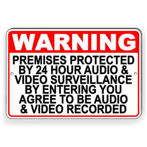 Protected By Recorded Audio Video Surveillance Metal Sign 3 Sizes Warning S049