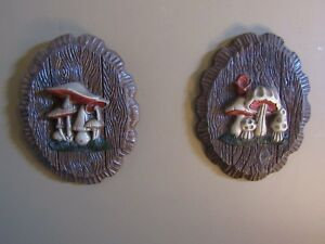 Vintage Mid Century Modern Retro Faux Wood Foam Mushroom Wall Hanging Plaques 3d