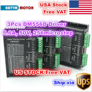 usa 3pcs Digital Stepper Motor Driver 50v 5 6a Dm556d Cnc Router Mill Machine