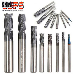 8pcs 2 12mm Carbide End Mill For Aluminum 4 flute Cnc Milling Cutter Bit Tool