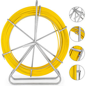 8mm 150m Fiberglass Wire Cable Running Rod Fish Tape Puller Rodder Yellow 210g m