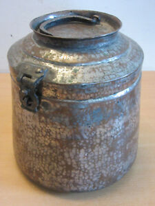 Antique 19thc Turkey Copper Tin Lidded Locking Large Canister Container Handle