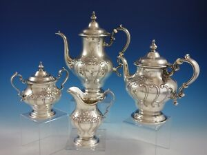 Chantilly Countess By Gorham Sterling Silver Tea Set 4pc 2892