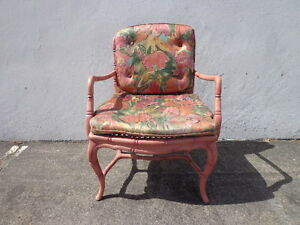 Faux Bamboo Chair Armchair Chinese Chippendale Vintage Bohemian Boho Armchair