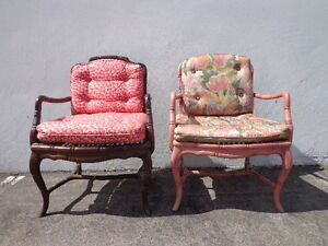 2 Faux Bamboo Chair Armchair Chinese Chippendale Vintage Bohemian Boho Armchair