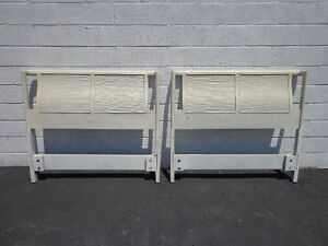 Pair Of Headboards Twin Single Bed Beachy Woven Mid Century Modern Chinoiserie