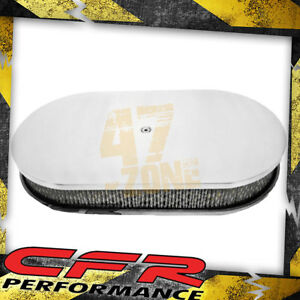 Chevy Ford Mopar 15 Oval Polished Aluminum Air Cleaner Smooth