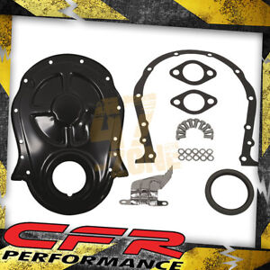 1966 90 Chevy Big Block Steel Timing Chain Cover Set W Timing Tab Black
