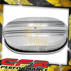 Chevy Ford Mopar 12 Oval Polished Aluminum Air Cleaner Partial Finned