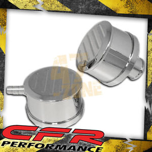 Chevy ford mopar Chrome Billet Aluminum Breather Set W Pcv Ball Milled