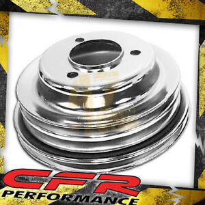 1969 85 Chevy Big Block 3 Groove Chrome Steel Crank Pulley Long Pump Lwp