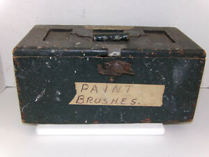 Antique Vintage Primitive Latched Wood Carpenter Tool Tackle Box Hand Crafted