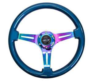Nrg 350mm Classic Wood Grain Steering Wheel Smooth Classic Blue Neochrome New