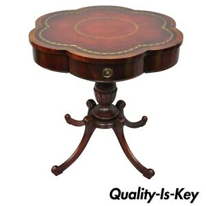Antique Regency Style Red Tooled Leather Top Carved Mahogany Lamp Drum Table