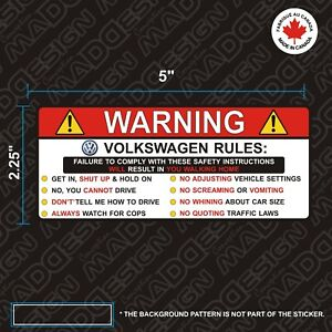 Volkswagen Sticker Warning Rules Funny Vinyl Decal Autocollants Stickers Volks