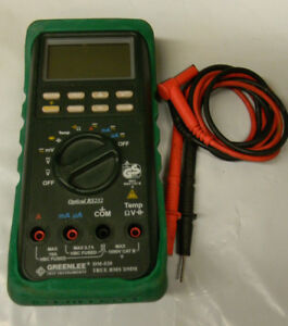 Greenlee dm 820 True Rms Digital Multimeter Ac dc 1000 V With Leads And Case