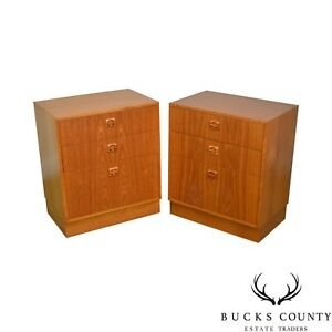 Danish Modern Teak Pair Of 3 Drawer Chests