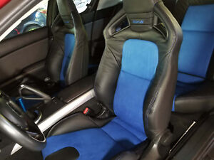 2009 2011 Mazda Rx 8 R3 Replacement Leather Seat Covers Black With Blue