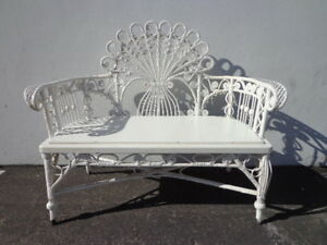Wicker Bench Peacock Chair Victorian Settee Loveseat Entry Way Vintage Rattan