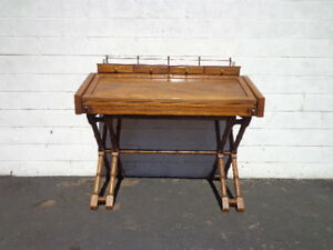 Vintage Campaign Desk Gold Brass Wood Mid Century Desk Asian Chinoiserie Storage