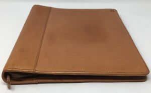 Hartmann British Tan Belting Leather 3 Ring Zippered Binder Portfolio