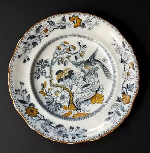 Ashworth Bros Blue Transferware Dinner Plate Hanley Bird Flowers Antique 9 1 4