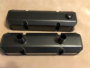 Sbc Billet Rail Sb Chevy Circle Track Valve Covers black Anodized Made In Usa