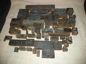 Lot Of Over 50 Vintage Wood metal Letterpress Print Blocks Advertising Images