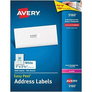 Easy Peel Address Labels Permanent Adhesive 3000 Pieces Laser Printers Optimized